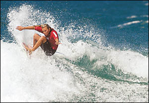 Angela Keighran . . .  claimed the Under 18?s title at the State Surfing championships at Macauleys.