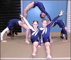Gladstone Gymnastic Club's (from left) Gemma Sweeney, Tahlia Gailbraith, Ella Lawrie (top),  Mollie O'Neil and Keecia Mallie.