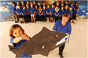 SHARK ATTACK: Eight-year-old Toni Forbes? winning entry in the ?Feed Your Teacher to the Sharks? competition means that Wooli P