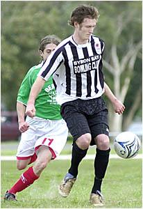 BALL CONTROL: Byron Bay captain Shaun Packham controls the ball during the Far North Coast preliminary final against Italo Star