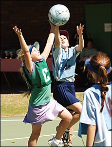 FINAL ROUND: Action from the Grafton netball grand finals at Westward Park on Saturday.