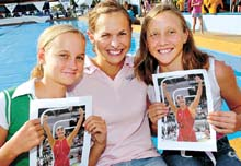 Olympic swimmer Libby Lenton (centre) with Layla Mackay (left) and Gemma Henricksen (right).