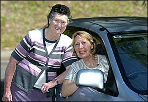 VOLUNTEER driver Edith Sisaric with Alice Thompson