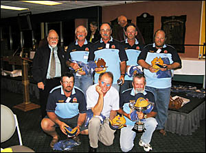 GOOD FISHING: Above: Five Lower Clarence anglers Allan Rooks, rear, third from left; Garry Rooks and Ray Thorley and front left