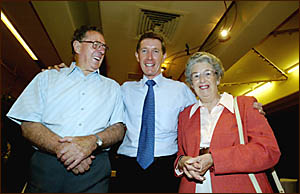 NSW opposition leader Peter Debnam with his parents John and Betty from Banora Point at Twin Towns Services Club