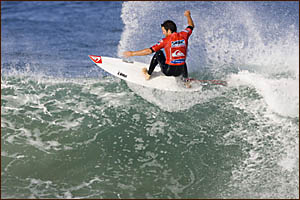 Byron Bay?s Danny Wills floats across a good-sized wave at La Graviere, France, on his way to winning a first-round heat in the