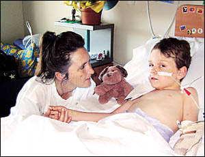 Jesse Souter and his mum Kim Braid at the Mater Children?s Hospital in Brisbane. Doctors have described Jesse?s recovery from a