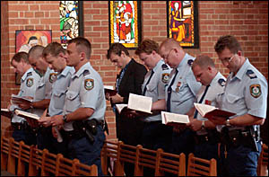 Valley officers at yesterday?s police remembrance day service.