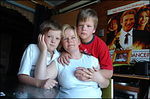 FAMILY RELIEVED: Catherine Andrews, mother Crystal Andrews, with Crystal?s brothers, Bead Banham, 11, left, and Eddie Banham, 1