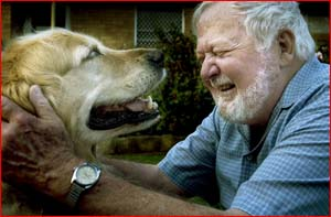 Dr Frank Nothling  with his guide dog Rowley.   Picture: Kevin Farmer