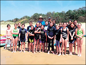 Local and visiting Junior surf members on Sawtell Beach