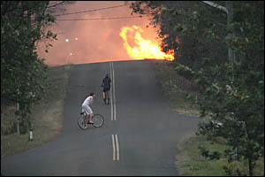 The bushfire at Eatonsville ?jumps? Tindal Road on Saturday afternoon at around 4.30pm as two young lads on push bikes look on.