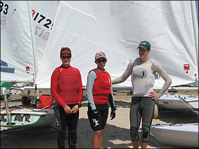 Big River Sailing Club juniors, from left: Gabrielle King, Keiran Searle, Tom Scully competing in NSW Youth Championships at Ge