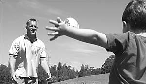 Bellinger Valley-Dorrigo Magpies? new first grade coach Mark Davidson with his son Mackenzie.