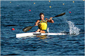 MUDDY WATERS:Nathan Baggaley powers to a silver medal behind a Canadian rival in the K1 500 at the Olympic Games in Athens last