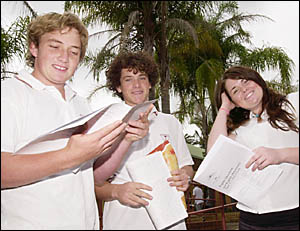 Alstonville High School students Michael Wilson, Jasch Saeck and Ashlea Walker discuss the HSC English exam