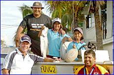 Ron Gibbs (left) poses with good friends Bob Appo, Bob Appo Junior, Katrina Appo and Greg Appo in Gladstone.