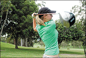 Emma de Groot shows the style that saw her finish fifth in the NSW Junior Championships and ninth in the National All Schools t