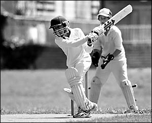 Munraj Singh-Bisla batting for Northern Rebels under-15s in the match against Park Beach Bowling Club Colts at Maclean St.