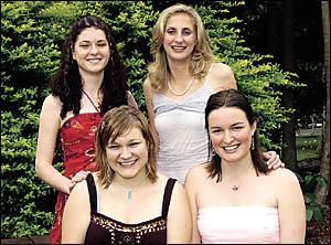 SHOWGIRLS: Alstonville Showgirl entrants for 2005 are, clockwise from front left, Margaret Quinn, Bethany Collins, Julieanne Ho