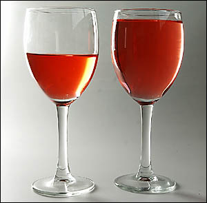 One standard drink doesn?t always mean one glass. These two glasses are exactly the same size, with the one on the left the cor