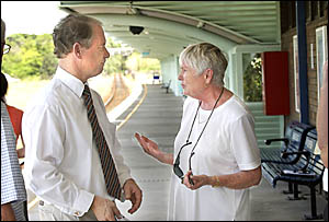?Don?t you let them close this station!? Nola Condon gives her views about rail travel to member for Coffs Harbour Andrew Frase
