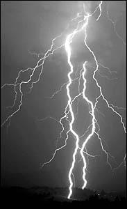 LIGHT-UP: A bolt of lightning strikes at McLeans Ridges on Thursday night.