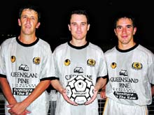 FOrmer Bundaberg Waves XXXX Premier League players Greg Thomas, Nick Maas and Byron Gray-Hassall.