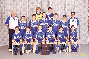 THISTLES: Back row, left to right: Pat Nielson, Jonty Miller; middle row, left to right: Craig Kennedy (coach), Joe Melino, Zac