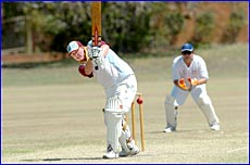 BITS batsman Shay Bosworth hits through the leg-side during his side?s one-wicket A grade loss to Brothers