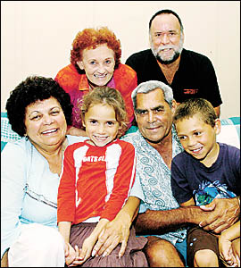 Dot and Ray Giggins (at rear), with Sandra and Hector Bolt and their grandchildren Lisamaree, 6, and Sean, 8.