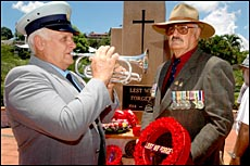 Trevor Webb and Russell Tidd were among over 150 people who attended yesterday?s Remem-brance Day ceremony at Anzac Park.