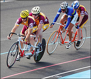 Visiting riders from Queensland competing in a tandem demonstration event at the new Coffs Harbour velodrome during the officia