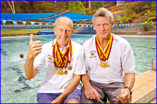 Masters swimmers Don Jones (left) and Ian Carrick were in record-breaking form