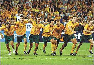 Ecstatic Australian soccer players (from left)Josip Skoko, Tony Vidmar, Lucas Neill, Tim Cahill, Jason Culina, Mark Viduka and