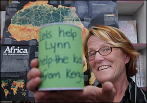 KICK THE CAN: Raising money for African kids before her 12 month trip to Africa is Lynn Creber of Yamba.