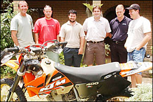 RESCUE SQUAD: (from left) Scott Ryan, Ben Roberts, Shane Corocher, Travis McConnell, Michael and Greg O?Halloran.
