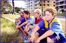 Shane Cherry, Dylan Christie, Tyson Ning and Jarrod Ning at Barney Point Beach,
