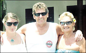 Ballina Couple Michael O?Reilly and partner Wendy King (left) with Stephanie Condy from Wollongong at Baleka Hotel Legian.