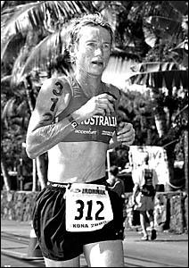 Lyn Fulton?s ?Australia? crop top attracted plenty of attention during the run leg of the Hawaiian Ironman.