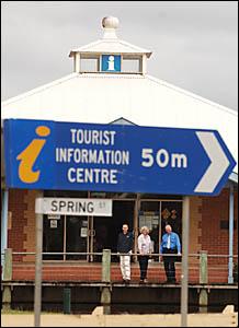 Award winning local tourism team, tourist information officer John Warrell, left, manager Jenny Massie, and tourist information