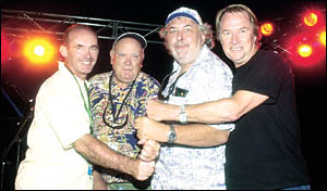PROMOTERS LINE-UP: Above, from left, Blues Fest promoters Daryl Herbet, Michael Chugg, Peter Noble, and Glenn Wheatley, get exc