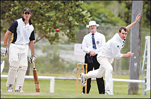 Peter Bayley sends down a delivery for Coffs Harbour against Manning River yesterday. Bayley took 3-20 from eight overs to spea