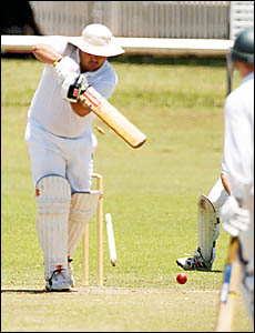 YOUR?RE OFF: Westlawn batsman Jason Chevalley loses his off stump to Tucabia opening bowler Aaron Amos as the premiers collapse