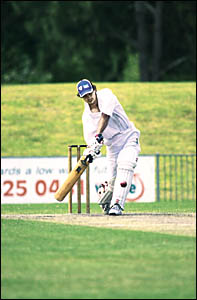 HITTING OUT:Opening batsman Anthony Nind hits out during the Lismore innings in the NSWCountry Cup cricket match at Oakes Oval,