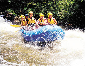 Liquid Assets rafters enjoy the whitewater on the Nymboida?s Goolang Creek. Photo submitted