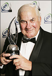 PETER Crittle accepts his IRB award in Paris. Picture: GETTYIMAGES