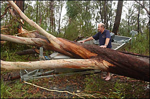 Former Clarence River Fishermen?s Cooperative chairman, George Baker, got an unwelcome surprise following the storm.