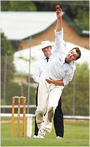 Coffs Hotel Tigers paceman, Peter Bayley bowling in the Country Cup match against Hastings on Sunday