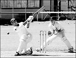 Coffs Harbour batsman Pat Martin hits out on his way to scoring a rapid 68 against Clarence River on Sunday.